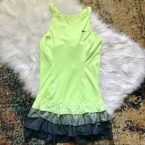 Nike Dresses - Neon Green Tennis Dress Ombre Tiered Ruffle Hem